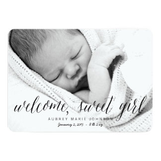 Welcome Sweet Girl - Photo Birth Announcement