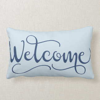 Welcome Throw Pillow in Periwinkle and Gray-Blue
