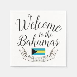 Welcome to Bahamas | Destination Wedding Custom Disposable Napkin