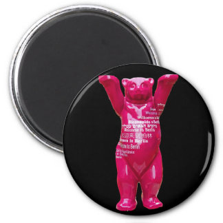 Welcome to Berlin Teddy Bear, Black Back 6 Cm Round Magnet