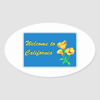 Welcome to California - USA Road Sign Oval Stickers