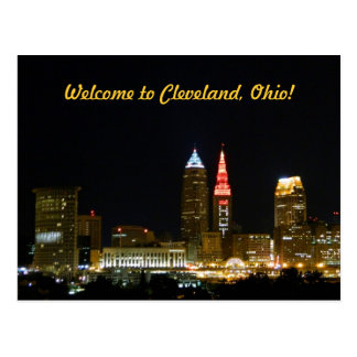 Welcome to Cleveland (Night) Postcard