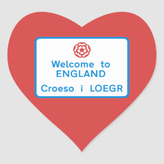 Welcome to England Sign, UK Heart Sticker