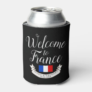 Welcome to France | Destination Wedding Custom Can Cooler