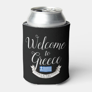 Welcome to Greece | Destination Wedding Custom Can Cooler