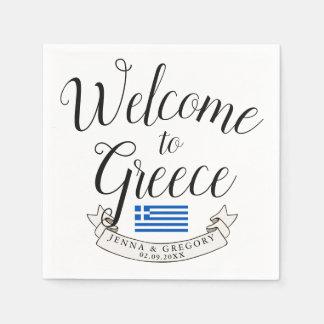 Welcome to Greece | Destination Wedding Custom Disposable Napkin