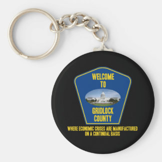 Welcome To Gridlock County (U.S. Congress Humor) Basic Round Button Key Ring