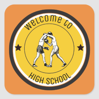 Welcome to High School Square Sticker