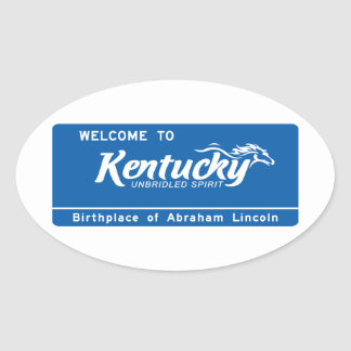 Welcome to Kentucky - USA Road Sign Oval Stickers