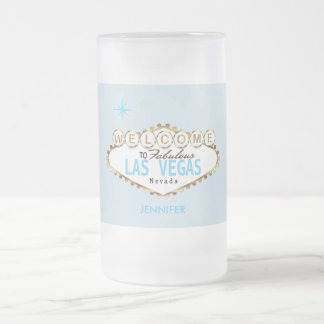 Welcome to Las Vegas - Baby Blue Frosted Glass Beer Mug
