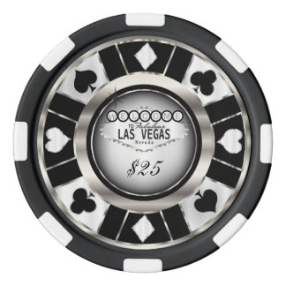 Welcome to Las Vegas - Black, Silver and White Poker Chips