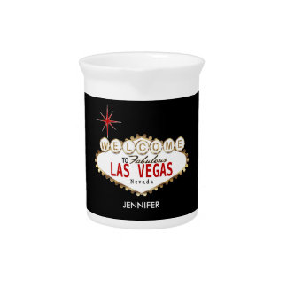 Welcome to Las Vegas - Red and Gold Pitcher