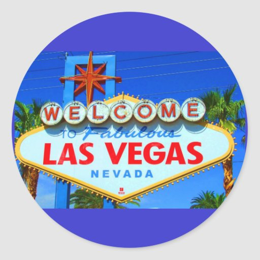 Welcome to Las Vegas Sign Round Stickers