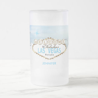 Welcome to Las Vegas - Sky Baby Blue Frosted Glass Beer Mug