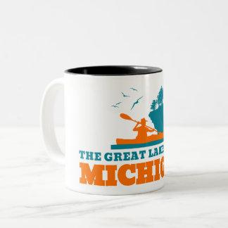 Welcome to Michigan (MI) - Color Logo. Two-Tone Coffee Mug
