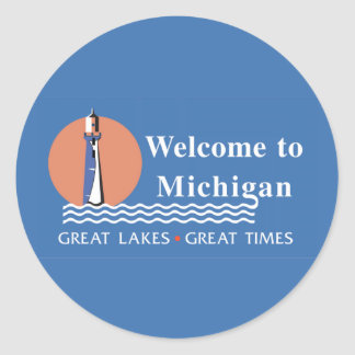 Welcome to Michigan - USA Road Sign Round Stickers