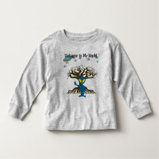 Welcome to my World Blue Alien Peace Sign Toddler T-Shirt
