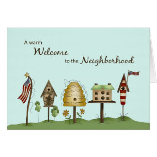 Welcome to Neighbourhood Birdhouses & Flags Card