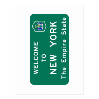 Welcome to New York - USA Road Sign Postcard