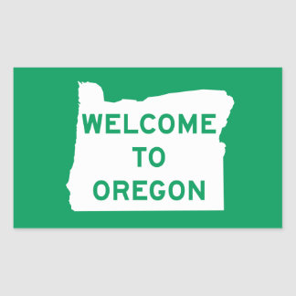 Welcome to Oregon - USA Road Sign Rectangular Stickers