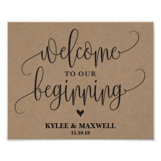 Welcome to Our Beginning Editable Wedding Sign