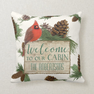 Welcome to our Cabin Personalized Rustic Decor Cushion