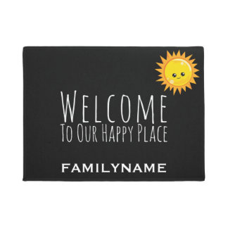 Welcome to Our Happy Place Cute Family Name Doormat