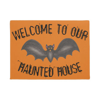 Welcome to Our Haunted House Black Halloween Bat Doormat