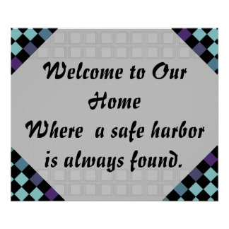 Welcome to Our Home Greeting Art Sign Nautical