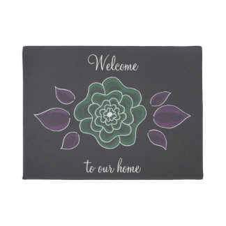 Welcome to our home hand drawn flower black doormat