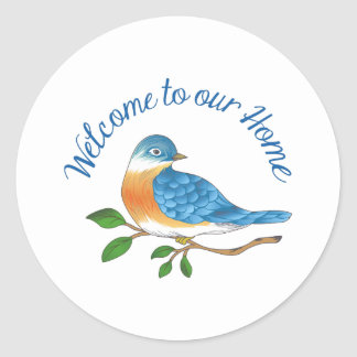 WELCOME TO OUR HOME ROUND STICKER