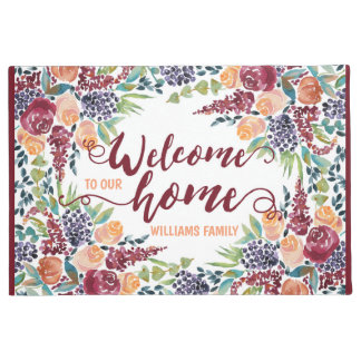 Welcome to Our Home Watercolor Fall Bouquet Roses Doormat