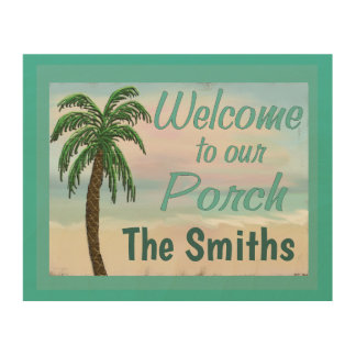 Welcome To Our Porch Beach Palm Tree Personalized Wood Wall Decor