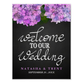 Welcome To Our Wedding Chalkboard Hydrangea Floral Poster