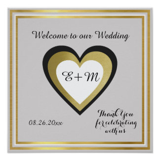 welcome to our wedding, elegant love reception poster