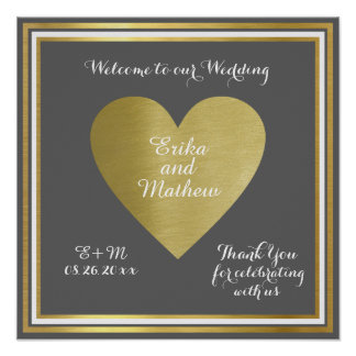 welcome to our wedding, reception gold love poster