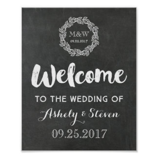 Welcome to our Wedding Sign Chalkboard Wreath Poster