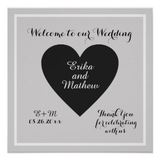 welcome to our wedding, stylish reception poster