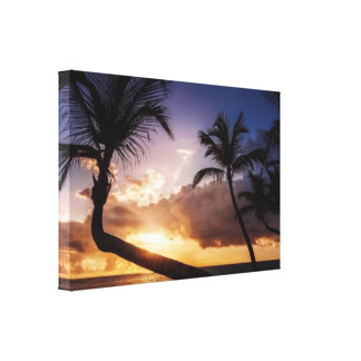 Welcome to Paradise Palms Purple Sunset Wall Art