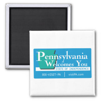 Welcome to Pennsylvania - USA Road Sign Square Magnet