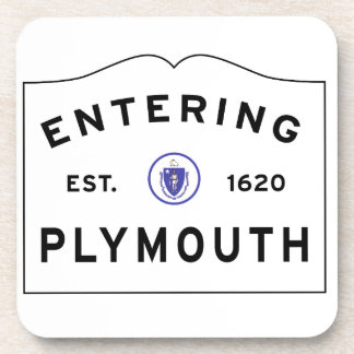 Welcome to Plymouth MA town sign Coaster