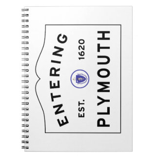 Welcome to Plymouth MA town sign Notebooks