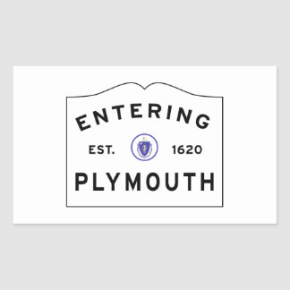 Welcome to Plymouth MA town sign Rectangular Sticker