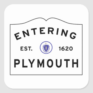 Welcome to Plymouth MA town sign Square Sticker