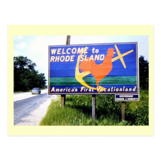 Welcome to Rhode Island, Road Sign 1956 Vintage Postcard