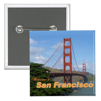 Welcome to San Francisco - Golden Gate Bridge 15 Cm Square Badge