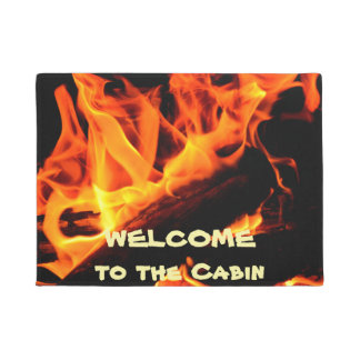 Welcome to the Cabin Log Fire Doormat