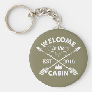 Welcome to the Cabin | Rustic Olive & White Key Ring