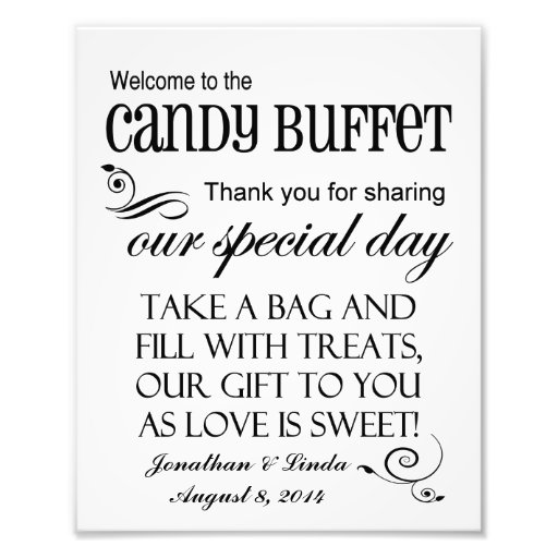 Welcome to the Candy Buffet Custom Wedding Sign Photograph
