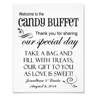 Welcome to the Candy Buffet Custom Wedding Sign Photographic Print
